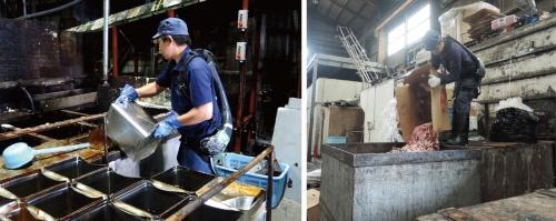 図1 油脂のリサイクル工場にアシストスーツ