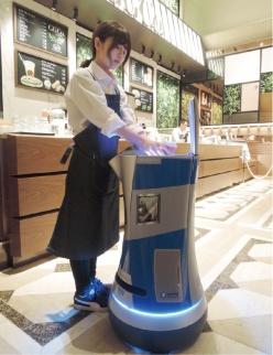 図1 オフィスビルの高層階にロボットがコーヒーを配送