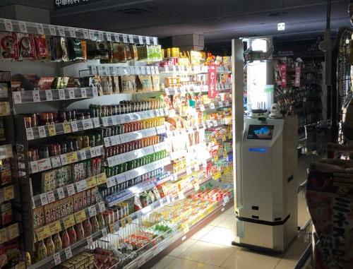 図1 スーパーでロボットが値札などを自動で確認