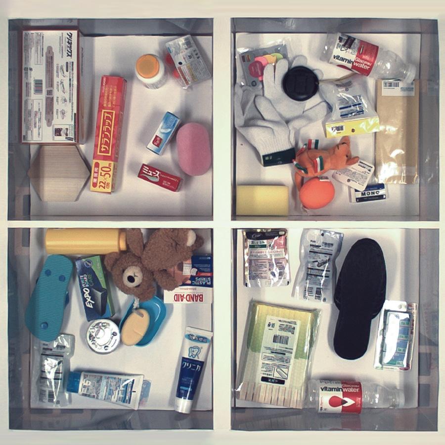 図2 物体の並べ方の例 4つの箱に実際に物体を並べた様子。物体同士が重なりあっているところもある。