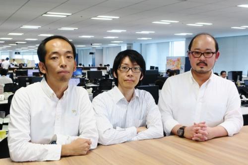 AXA Compass刷新プロジェクトに携わったアクサ生命保険の天目紘太氏(左)、大谷歩氏(中)、河野博氏(右)
