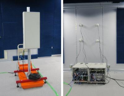 シールドルームに設置された5Gのアンテナ(左)と端末(右)
