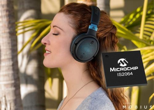 新製品を搭載したAudezeのヘッドフォン。AudezeとMicrochipのイメージ