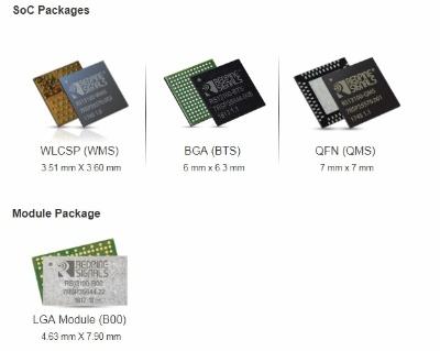 3種のICパッケージのほかに、LGAモジュールも選べる。Redpine Signalsのイメージ