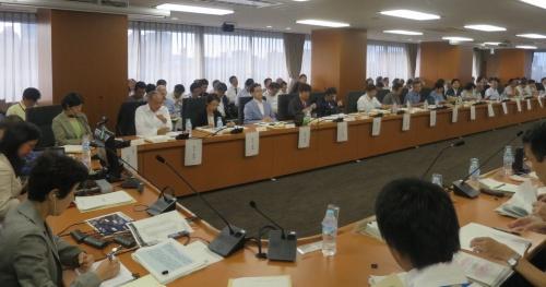第5回検討会議の様子。共同座長の村井純氏はテレビ会議システムでリモート参加した