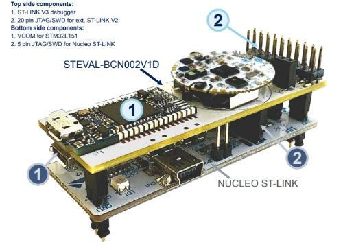 「BlueNRG-Tile Development Kit」(STEVAL-BCN002V1B)。上がセンサーボード。下がプログラミングボード。STMicroのイメージ