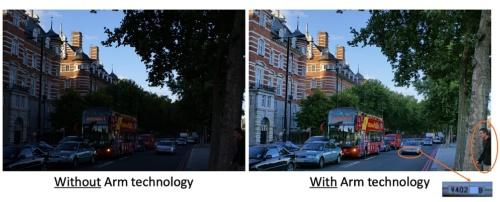 新製品を適用しない場合(左)と適用した場合(右)。(写真:Arm)
