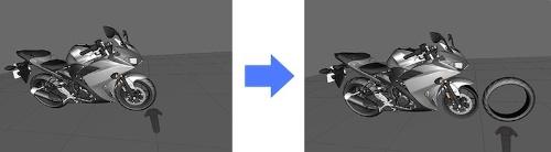 図2:CADデータの部品を個別に動かす機能のイメージ。VR空間でコントローラーを使ってタイヤを着脱できる。(出所:サイバネットシステム)