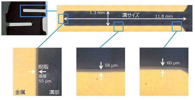 図2:複雑な形状の導体にコーティングした樹脂被膜の厚さ (出所:三菱マテリアル)