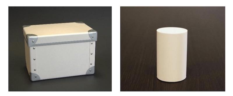 図:CNFと炭素繊維を組み合わせた複合材料(左)と、バルカナイズドファイバー積層品(右)の加工例  (出所:北越コーポレーション)