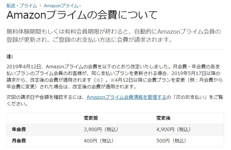 アマゾン プライム 年 会費