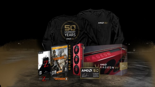 AMD Radeon VII Gold Editionと購入特典品。AMDの写真