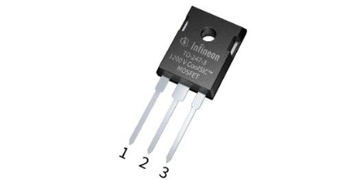 3端子TO-247パッケージに封止した+1200V耐圧のSiCパワーMOSFET。Infineonの写真