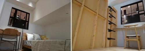 RENOSY STAND SHIBUYAで展示しているリノベーションの例。両親の部屋(左)のベッドの上の空間を子供部屋(右)のベッドに活用していた