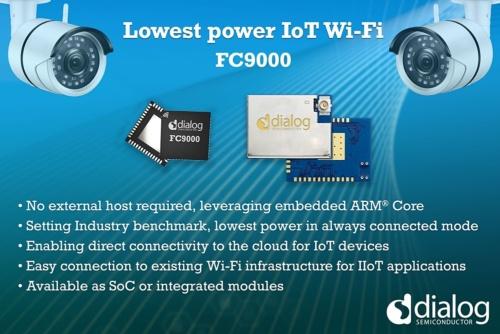 新製品のSoC「FC9000」の概要。中央のFC9000に右隣りにあるのは、FC9000をベースにしたモジュールの「FCM9000S」。FC9000に加えて。アンテナやフィルター、水晶発振子、フラッシュメモリーなどを収めている。Dialogのイメージ