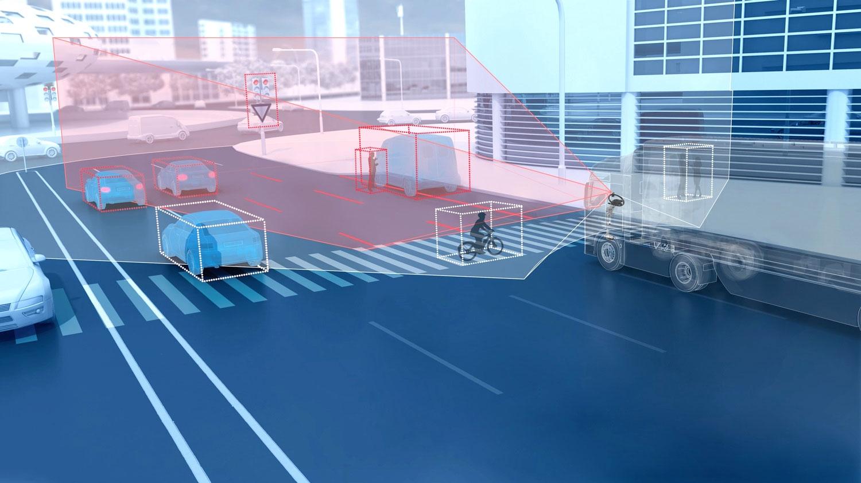 カメラで認識できる範囲はモノラルカメラ(赤い部分)よりDual-cam(白い部分)のほうが広い。 (写真:ZF)