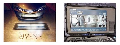 図:UVeyeの自動車車両下部の検査システム
