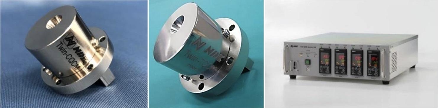 図:「Twin-QCM」のセンサーモジュール 液体窒素冷却型の「Twin-CQCM」(左)と、熱電素子冷却型「同TQCM」(中)、両モジュール対応する「同センシングユニット 4ch」(右)(出所:日本電波工業・JAXA)