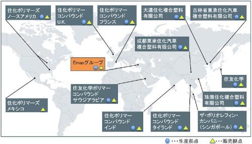 図:住友化学グループのPPコンパウンド生産・販売拠点
