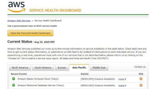 AWSの「SERVICE HEALTH DASHBOARD」。東京リージョンで障害が発生した2サービスのステータスが「RESOLVED(問題解決済み)」となった