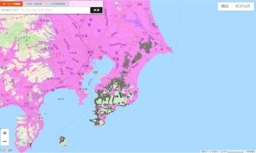 KDDIの復旧エリアマップ(10日午後5時時点)。灰色のエリアが圏外になっている地域を示す