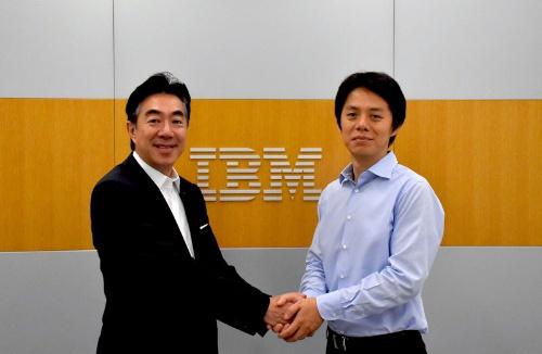 日本IBMの森本典繁執行役員(左)とグリッドの曽我部完社長