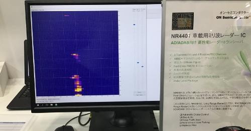 ミリ波レーダー用トランシーバーICを使ったデモ。ミリ波の照射範囲に物体があると、黄色で表示される。ON Semiconductorの展示