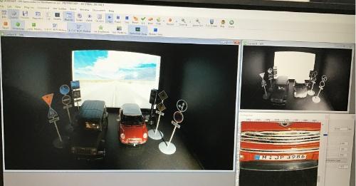 830万画素CMOSイメージセンサーのHDRモードのデモ。おもちゃの自動車のナンバープレートが鮮明に表示されている。ON Semiconductorの展示