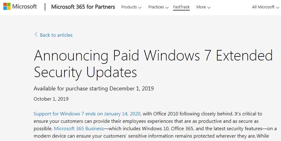 米マイクロソフトのWindows 7サポート延長に関する発表資料 (出所:米マイクロソフト)