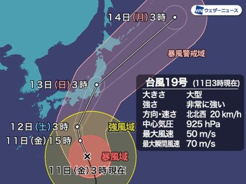 台風19号の進路予測(資料:ウェザーニューズ)