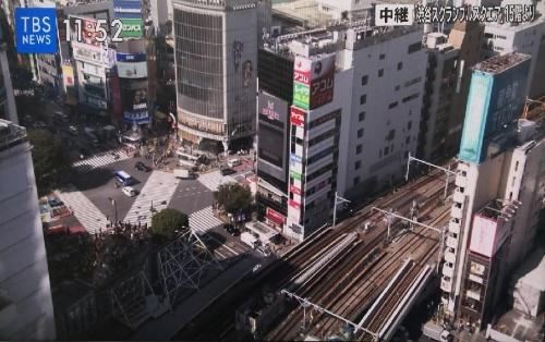 5G伝送による中継の様子(渋谷スクランブルスクエア15階から)