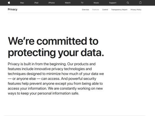 プライバシーに関するアップルのWebページをキャプチャーしたもの