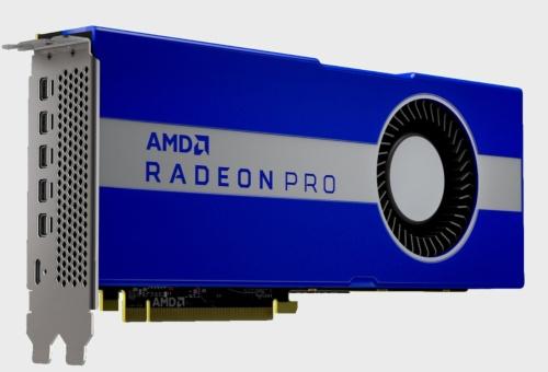今回の新製品。幅は2スロット。高さはフルハイト。長さは10.5インチ(267mm)。AMDの写真