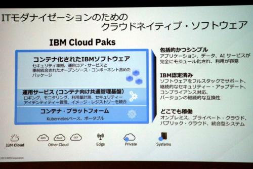 「IBM Cloud Paks」の概要。IBMの既存ミドルウエア群が様々なパブリッククラウドやオンプレミス環境で動作する