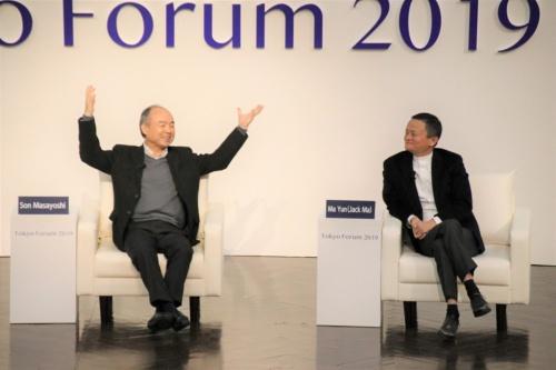 ソフトバンクグループの孫正義会長兼社長と中国アリババ集団創業者のジャック・マー氏