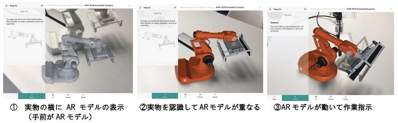 図1:「REFLEKT ONE」で作成したマニュアルのイメージ 実物を認識すると画面上のARモデルが実物と重なり、ARコンテンツが表示される。(出所:スマートスケープ)