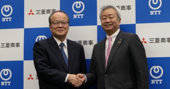 三菱商事の垣内威彦社長(左)とNTTの澤田純社長