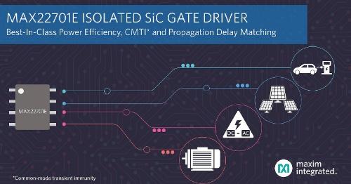 効率を4ポイント高められるSiC向け絶縁ゲートドライバーIC。Maxim Integratedのイメージ