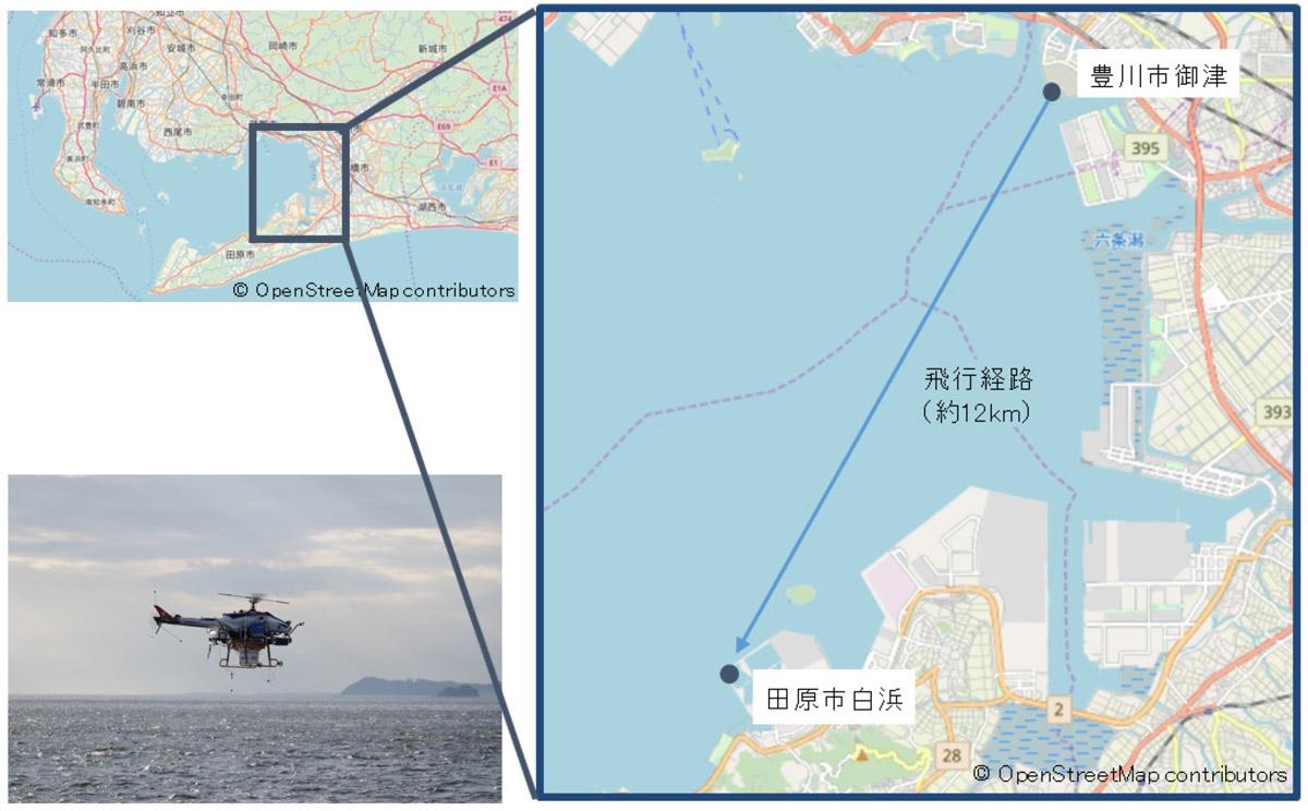 実証実験が行われた豊川市と田原市を結ぶ海域 (資料:NEDO)