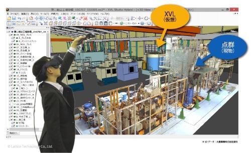 図:「XVL Studio VR オプション」を「XVL Studio Hybrid 」に組み合わせてVR表示した例