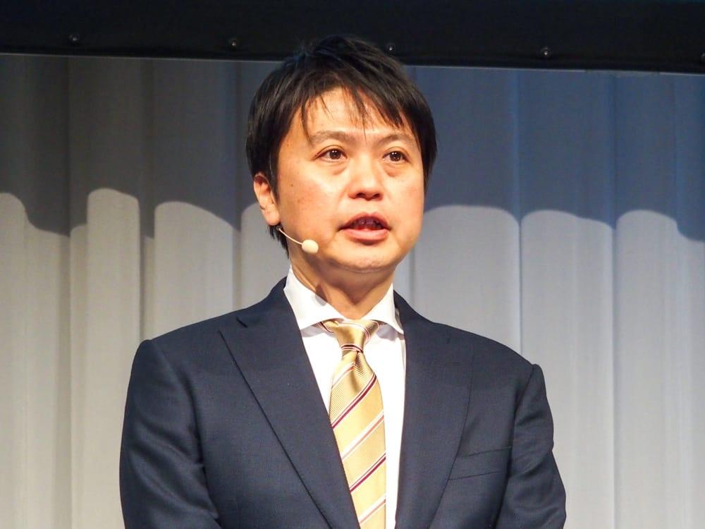写真1●NECパーソナルコンピュータの河島良輔執行役員 (撮影:山口 健太、以下同じ)