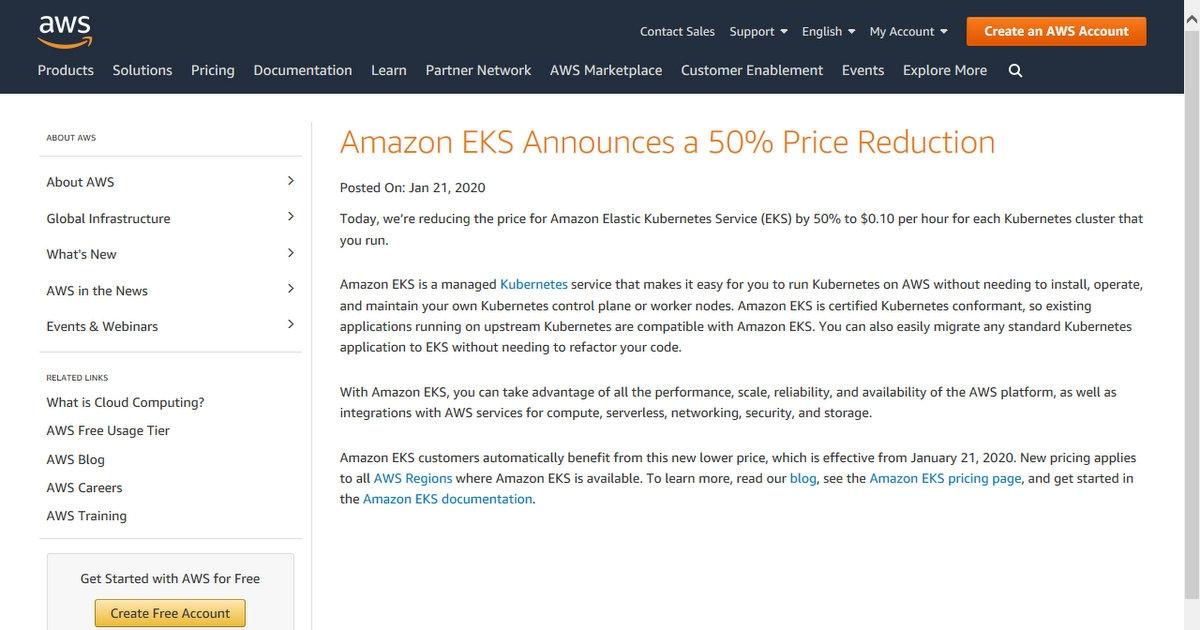 Amazon Elastic Kubernetes Serviceの値下げについて告知したサイト (出所:米アマゾン・ウェブ・サービス)