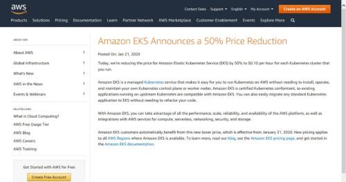 Amazon Elastic Kubernetes Serviceの値下げについて告知したサイト