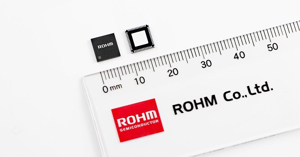 今回の新製品の「BD71850MWV」 7mm×7mmと小型の56ピンQFPに封止。ロームの写真