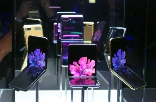 発表会後の体験会で展示された「Galaxy Z Flip」