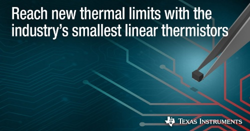 外形寸法が1.0mm×0.6mm×0.5mmと小さいリニアサーミスターIC。Texas Instrumentsのイメージ