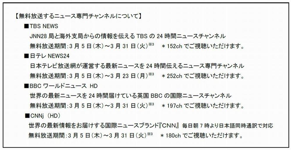 各チャンネルの概要と無料放送期間 (発表資料から)