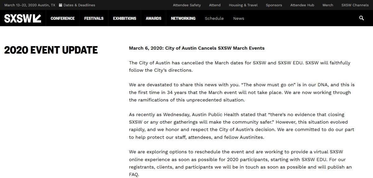 SXSWのWebページをキャプチャーしたもの