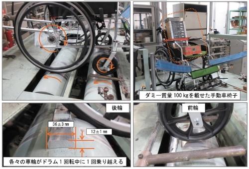 図6:走行耐久試験の例。写真の車いすは説明用で、今回のテスト対象銘柄とは異なる。(出所:国民生活センター)