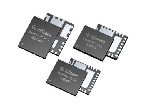 小型のPQFNパッケージに封止した降圧型DC-DCコンバーターIC。最大出力電流はIR3887MとIR3889Mは30A、IR3888Mは25Aである。Infineon Technologiesの写真
